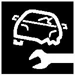 Skizze defektes Auto mit Schraubenschlüssel